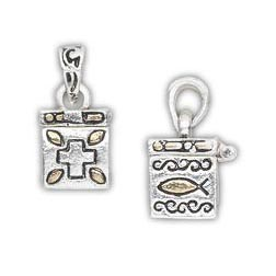 "This Square Prayer Box Charm is antique silver and gold finished ""pewter"" (zinc-based alloy). It measures approxmiately 13x11mm square with a cross and fish designs. It has a magnetic closure. Sold individually."